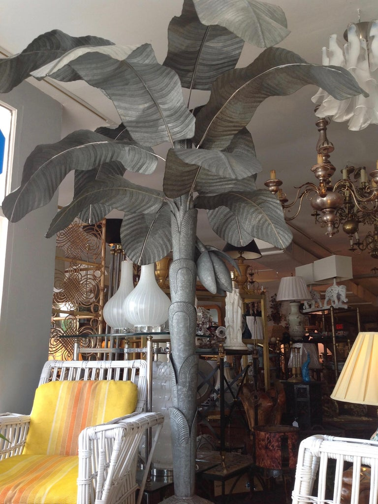 Hollywood Regency Magnificently Proportioned Tole Banana Tree For Sale