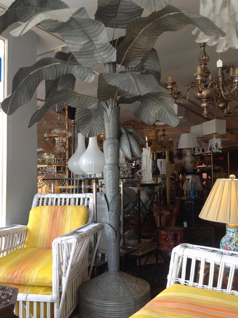 Asian Magnificently Proportioned Tole Banana Tree For Sale