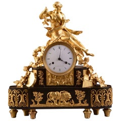 Magnified Large Directoire Clock with Pretty Semi Nude Woman, Wine Goddess