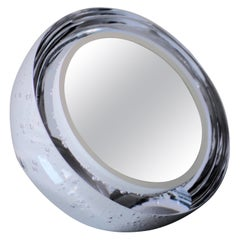 Magnifying Vanity Mirror in White Mouth Blown Glass by Experimental, 2019