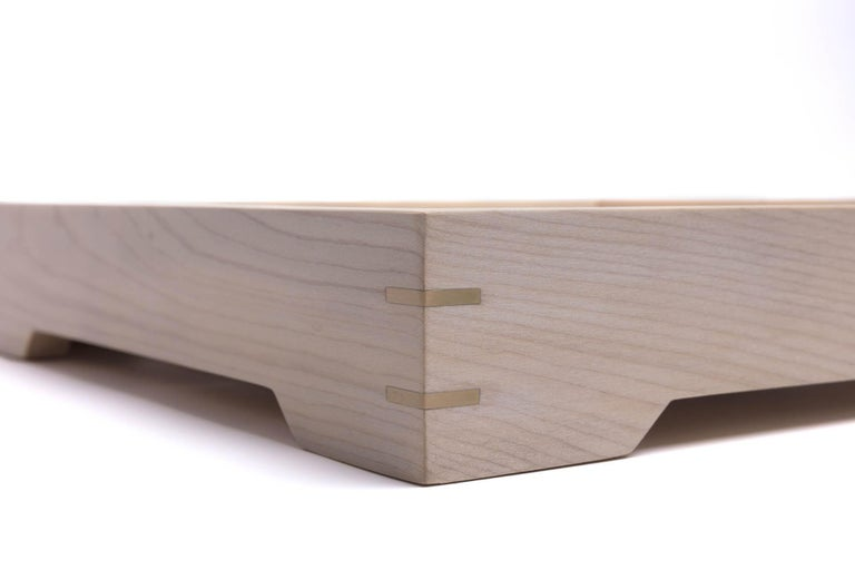 Hand-Crafted White Magnolia Wood and Brass Tray for Barware or display by Alabama Sawyer For Sale