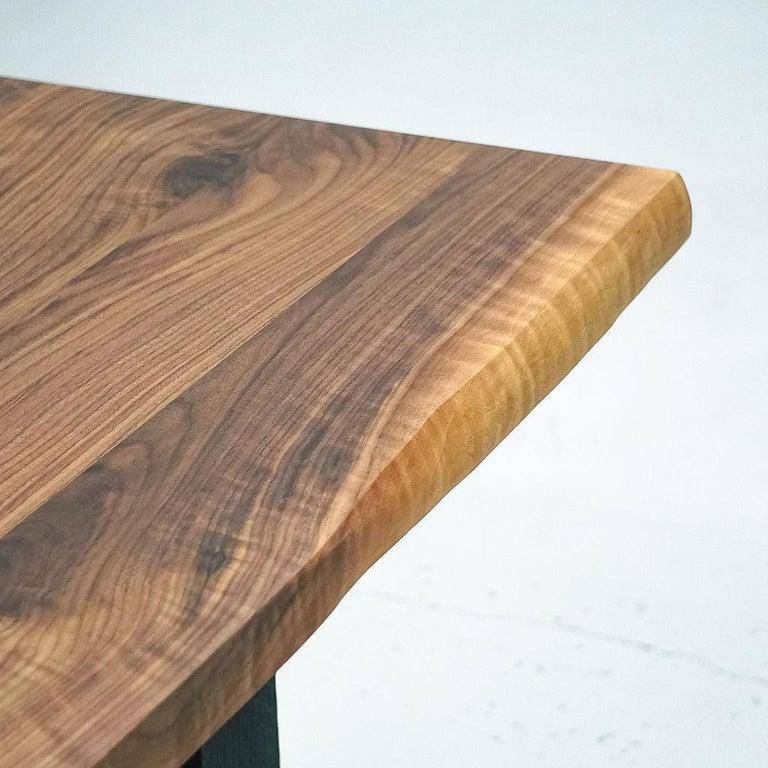 Organic Modern Magnolia Table, Organic Edge Walnut Dining Table with Blackened-Oak Base For Sale