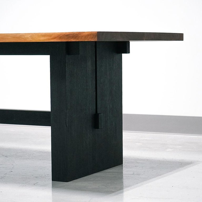 American Magnolia Table, Organic Edge Walnut Dining Table with Blackened-Oak Base For Sale