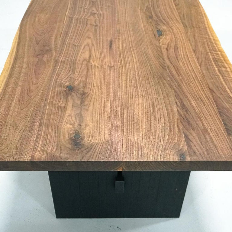 Magnolia Table, Organic Edge Walnut Dining Table with Blackened-Oak Base In New Condition For Sale In Chattanooga, TN