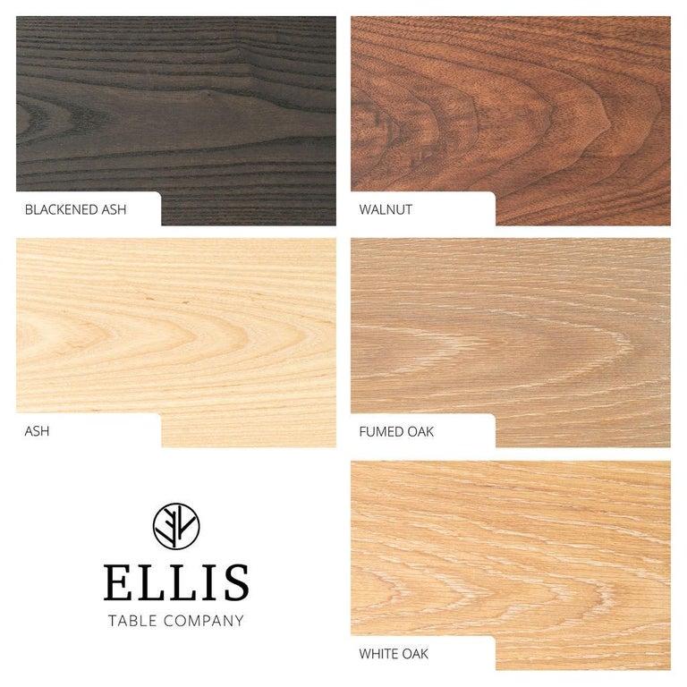 Wood Magnolia Table, Organic Edge Walnut Dining Table with Blackened-Oak Base For Sale