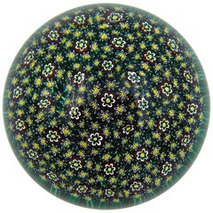 Magnum Art Glass Paperweight with Close Packed Millefiori Floral Canes