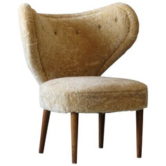 Magnus Stephensen 'Attributed' Lounge Chair Beige Sheepskin Beech Denmark C 1949