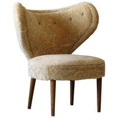 Magnus Stephensen 'Attributed' Lounge Chair Beige Sheepskin Beech Denmark C 1949