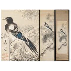 Magpie Nihonga Scene Meiji/Taisho Period Scroll Japan Artist Meiji Period