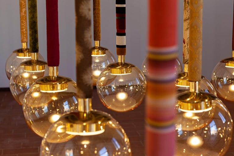 21st Century Filippo Feroldi Suspension Lamps Murano Glass Brass Various Colors For Sale 4