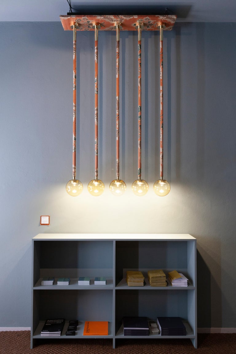 Hand-Crafted 21st Century Filippo Feroldi Suspension Lamps Murano Glass Brass Various Colors For Sale