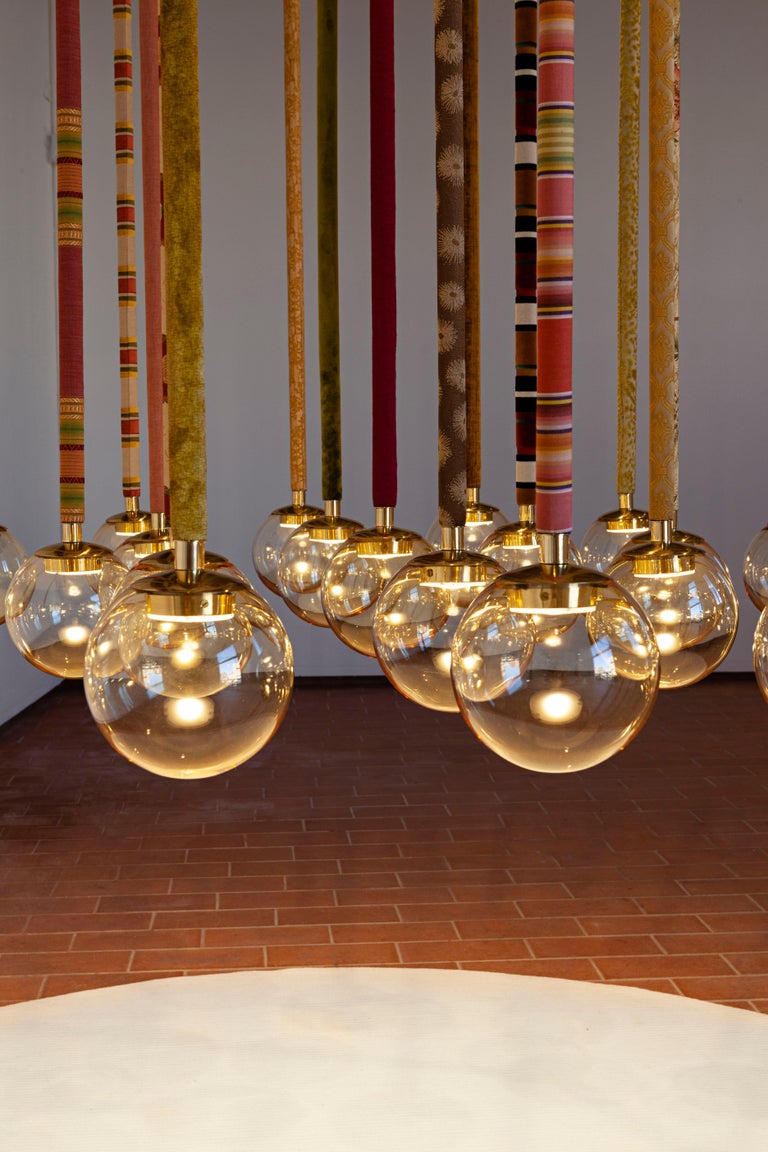 Contemporary 21st Century Filippo Feroldi Suspension Lamp Murano Glass Brass Various Colors For Sale