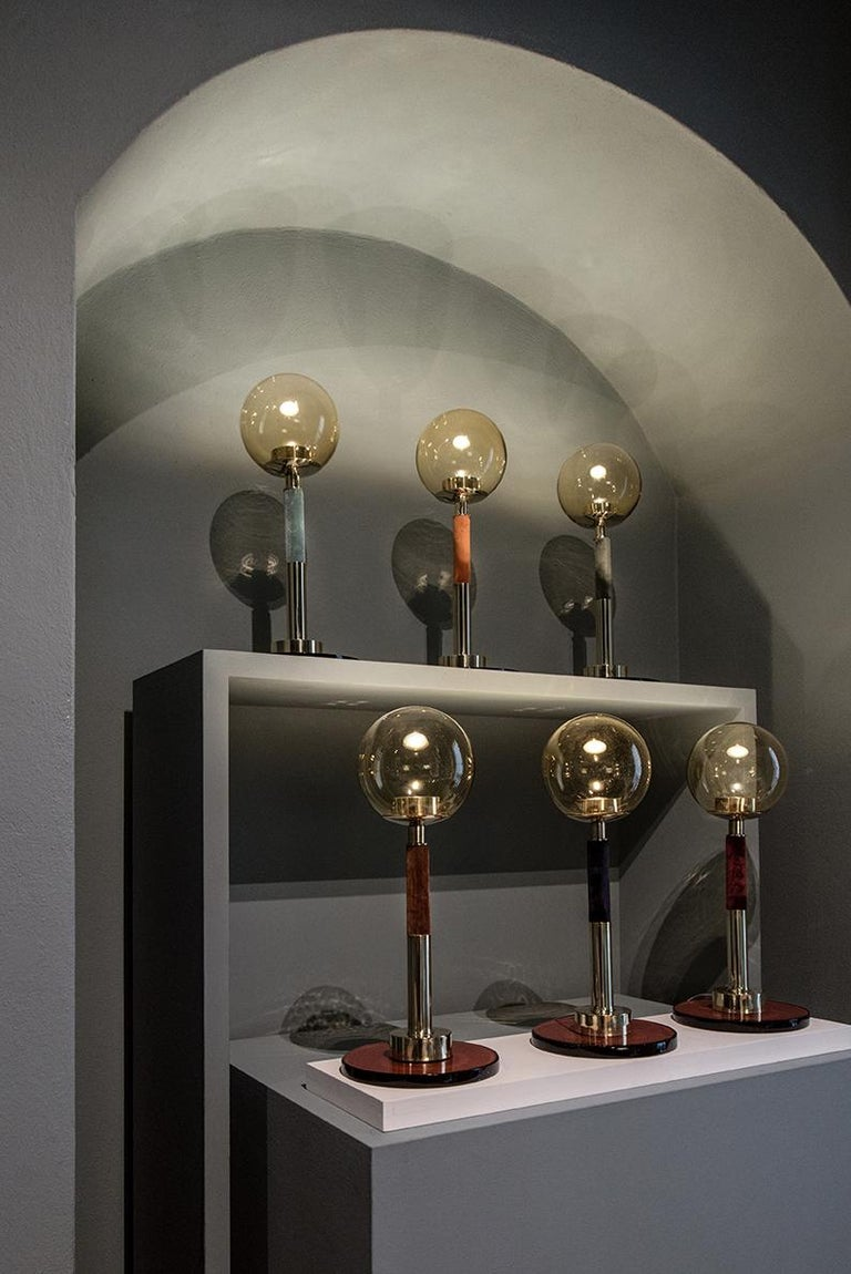 21st Century Filippo Feroldi Table Lamp Murano Glass and Brass Various Colors For Sale 2