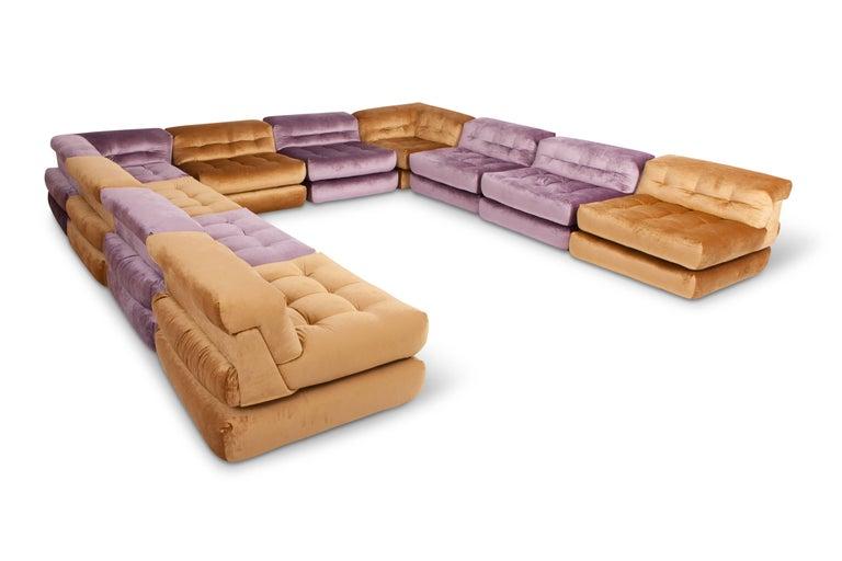 Mah Jong Modular Sectional Sofa in Gold Velvet by Roche Bobois For Sale 4