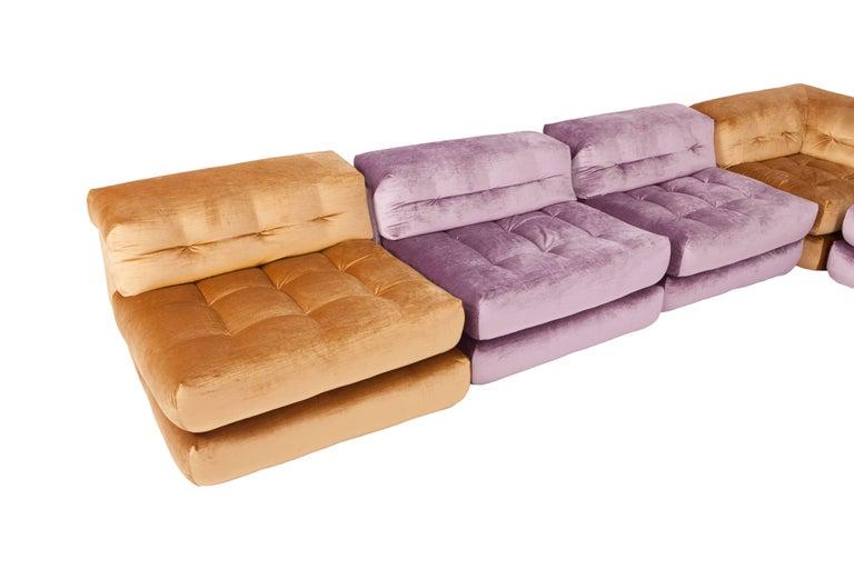 Mah Jong Modular Sectional Sofa in Gold Velvet by Roche Bobois For Sale 7