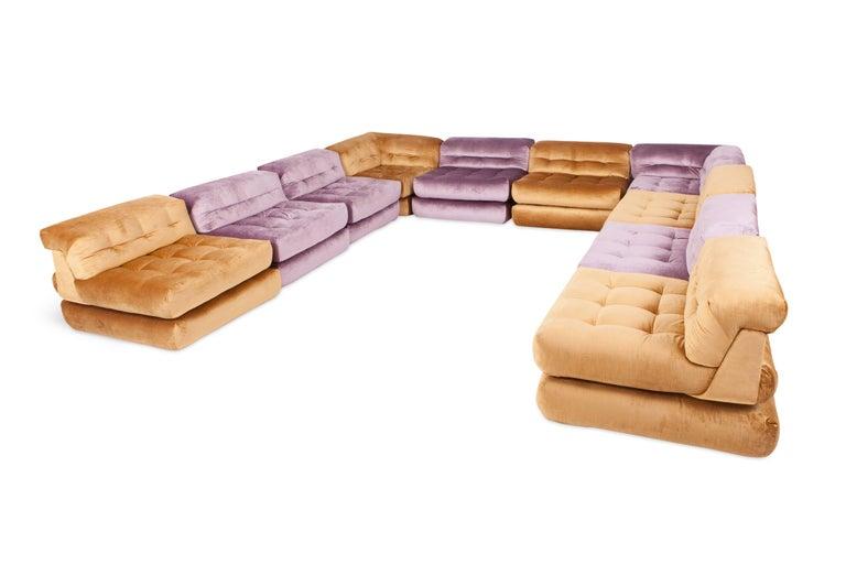 Mah Jong Modular Sectional Sofa in Gold Velvet by Roche Bobois For Sale 8