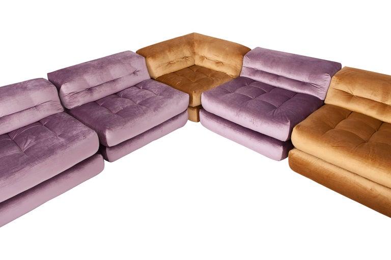 Mah Jong Modular Sectional Sofa in Gold Velvet by Roche Bobois For Sale 9