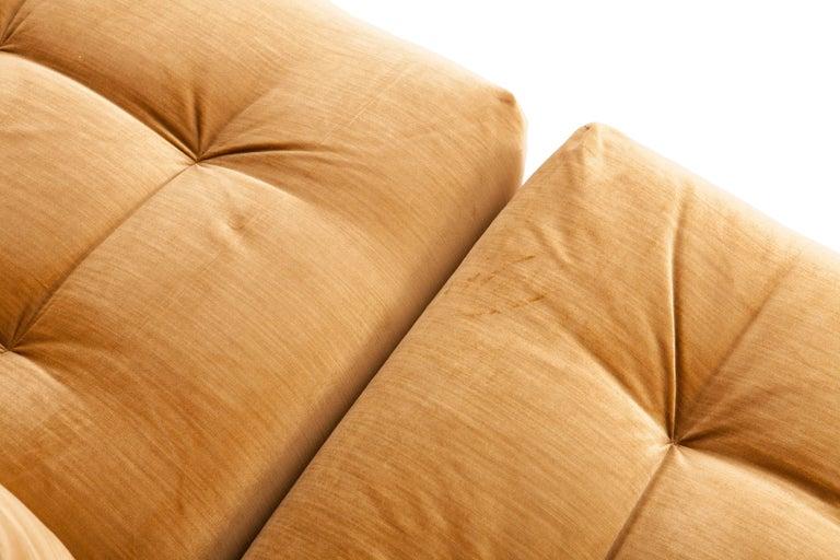 Late 20th Century Mah Jong Modular Sectional Sofa in Gold Velvet by Roche Bobois For Sale