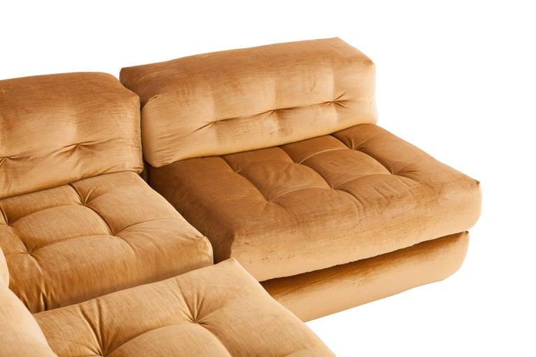 Mah Jong Modular Sectional Sofa in Gold Velvet by Roche Bobois For Sale 1
