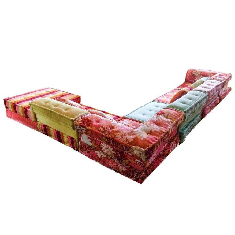 Mah Jong Modular Sofa Hans Hopfer Roche Bobois Kenzo Floral Silk Velvet Kimono