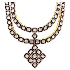 Mughal 17 Carat Fancy Cut Diamond Necklace Pendant