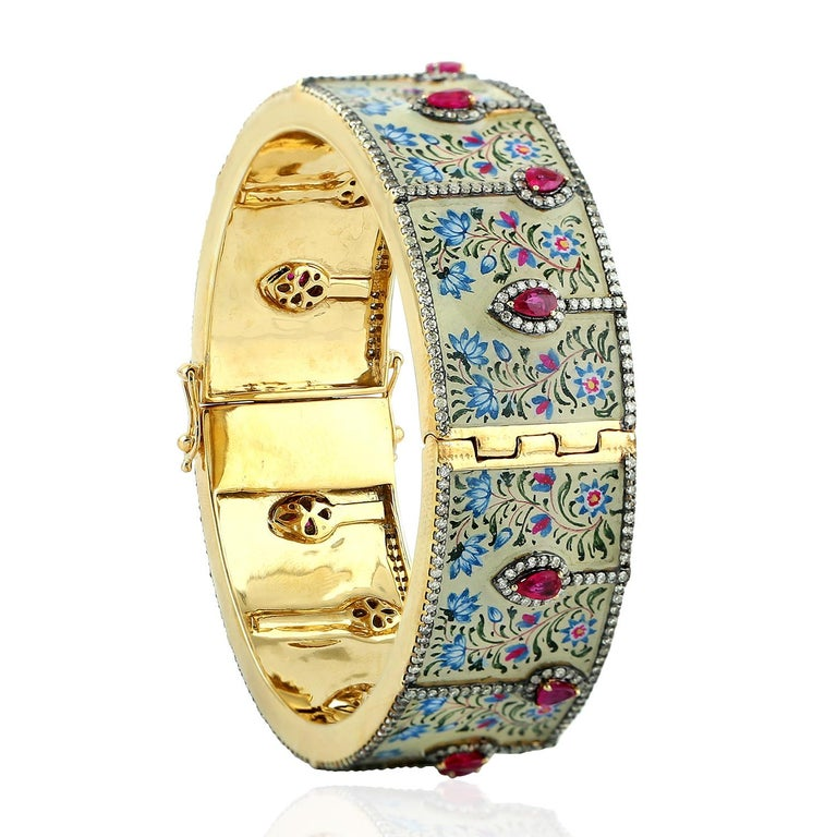 Maharaja Enamel Bangle Turquoise Rubies Diamonds In New Condition For Sale In Hoffman Estate, IL