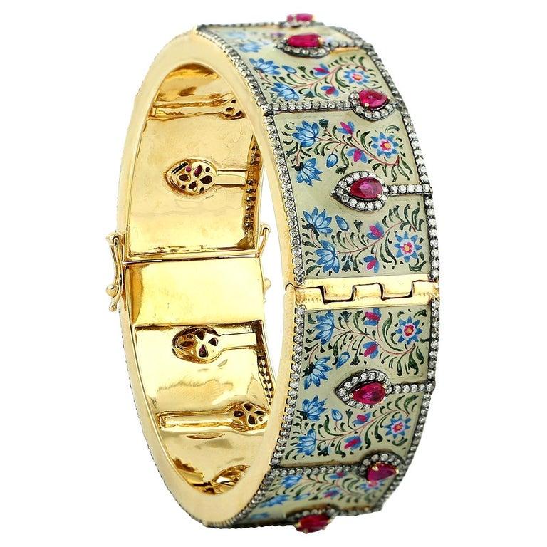 Maharaja Enamel Bangle Turquoise Rubies Diamonds For Sale