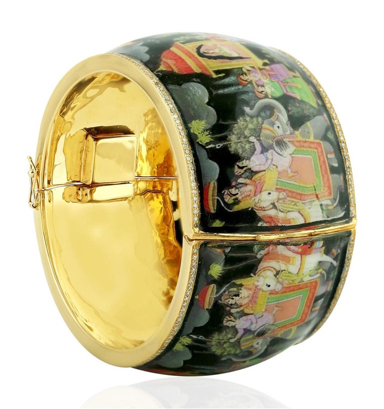 Maharaja Enamel Hand Painted Diamond Bangle Bracelet In New Condition For Sale In Hoffman Estate, IL