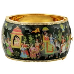 Maharaja Enamel Hand Painted Diamond Bangle Bracelet