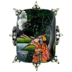 Maharaja Enamel Hand Painted Diamond Ring