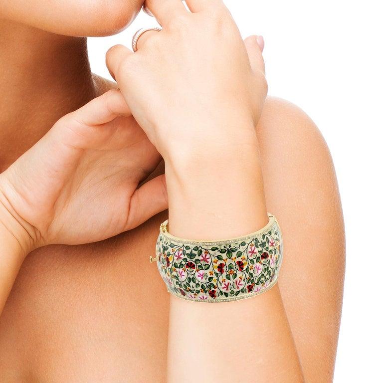 Artisan Maharaja Floral Enamel Diamond Bangle Bracelet For Sale