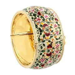 Maharaja Floral Enamel Diamond Bangle Bracelet
