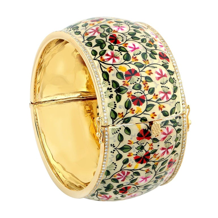 Maharaja Floral Enamel Diamond Bangle Bracelet For Sale