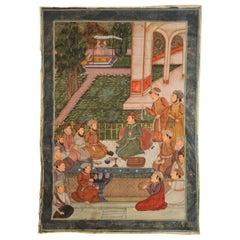 Maharaja Mughal Style Indian Art Painting on Silk