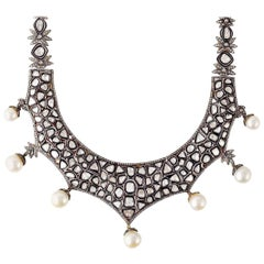 Maharaja Rose Cut 23.11 Carat Diamond Pearl Necklace