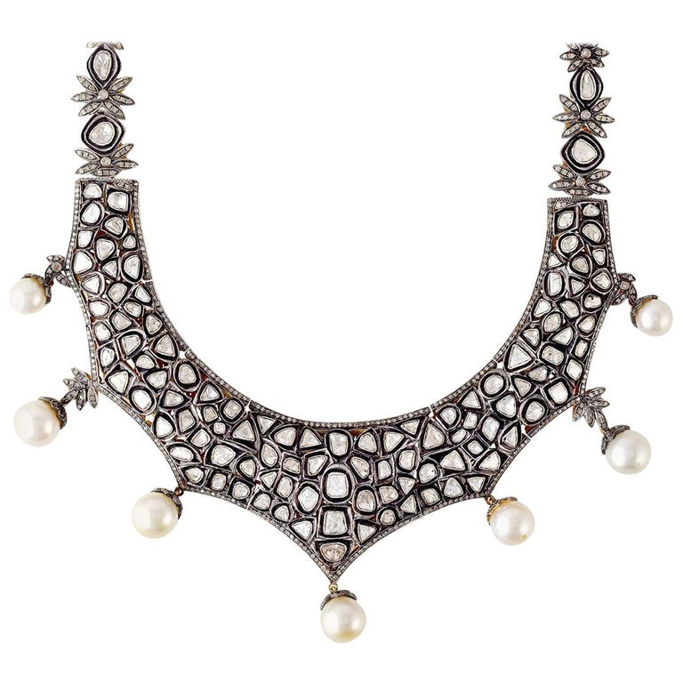 Maharaja Rose Cut 23.11 Carat Diamond Pearl Necklace For Sale