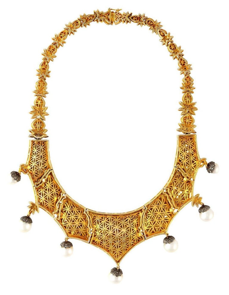 Artisan Maharaja Rose Cut 23.11 Carat Diamond Pearl Necklace For Sale
