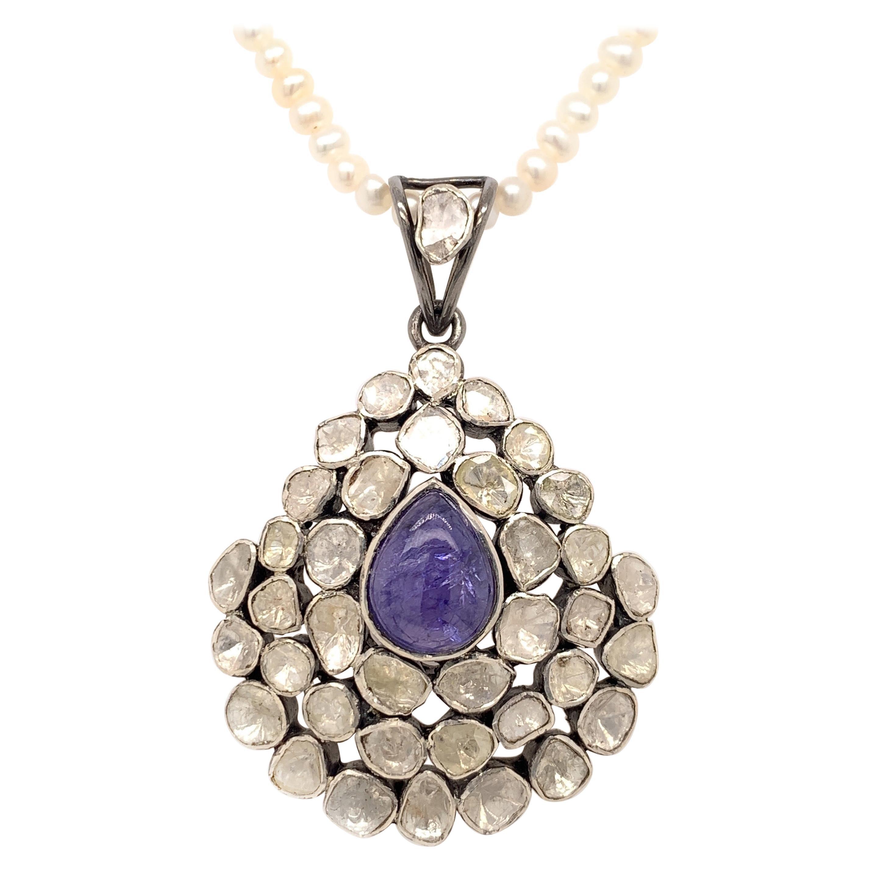 Maharaja Tanzanite & Fancy Cut Diamond Necklace