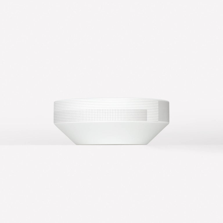 Pattern Porcelain Bowl by Scholten & Baijings 003 Zinc  Porcelain with Grid textile graphic. Matte exterior with gloss interior. Made in Japan by 1616 / arita japan.   Dishwasher safe.  Scholten & Baijings for Maharam is a collection of home goods