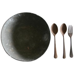 Mahatma Gandhi's Vintage 1940s Metal Prison Bowl and Wooden Fork and Spoons