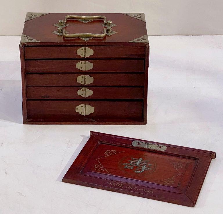 MahJong Game Set in Cabinet Box, N.Y.K. Fleet Ocean Liner Edition In Good Condition In Austin, TX