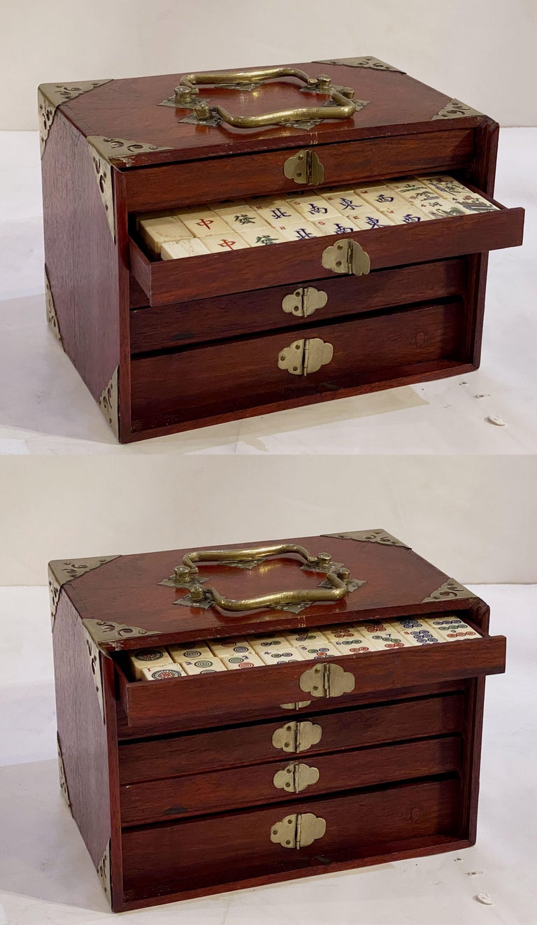 MahJong Game Set in Cabinet Box, N.Y.K. Fleet Ocean Liner Edition 1