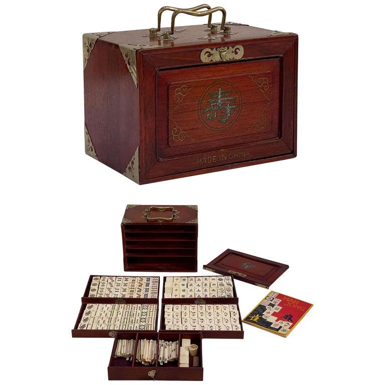 MahJong Game Set in Cabinet Box, N.Y.K. Fleet Ocean Liner Edition