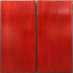 Untitled (Haiku), red abstract painting on wood panel