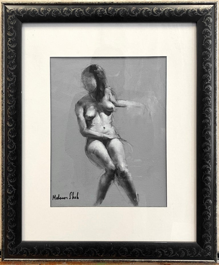 An early 2010s untitled nude figure study impressionist painting on art board by well-known Pakistani artist Mahnoor Shah.  Sensitively depicted female figure in a casual seated pose, rendered in shades of grey against a solid light grey