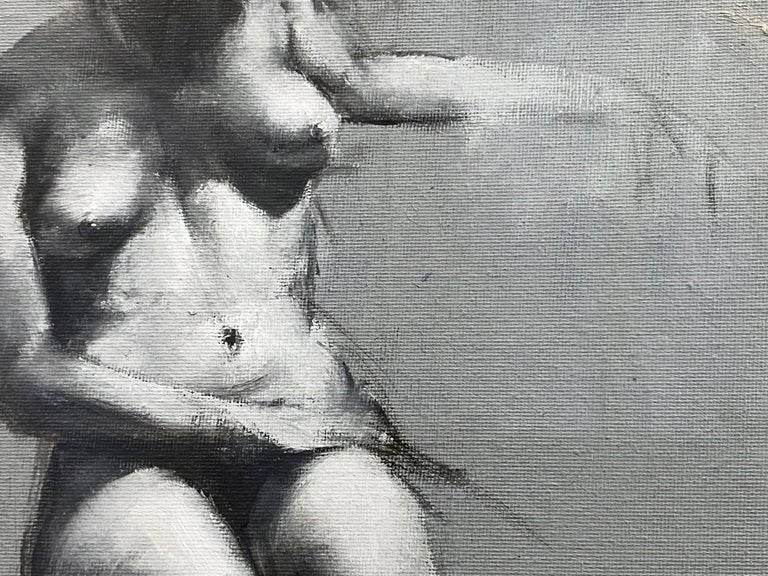 """Glass Mahnoor Shah """"Nude Figure Study"""" Impressionist Painting, Early 2010s For Sale"""