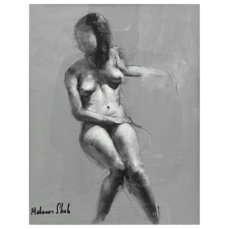"""Mahnoor Shah """"Nude Figure Study"""" Impressionist Painting, Early 2010s For Sale"""