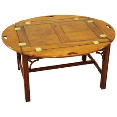 Mahogany 18th Century Georgian Antique Oval Butlers Tray on Stand