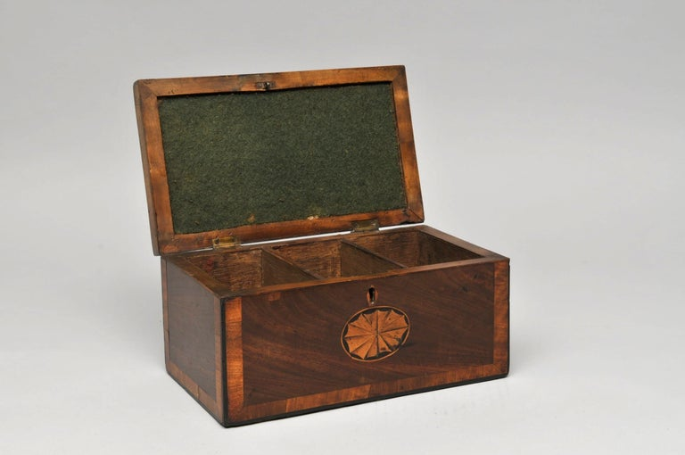 Period tea caddy  Measures: Height 13cm, width 27cm  A beautiful period tea caddy with cross banding and star inlay.  Although wooden tea caddies were made early in the 18th century, it is not until the second half of the century that they