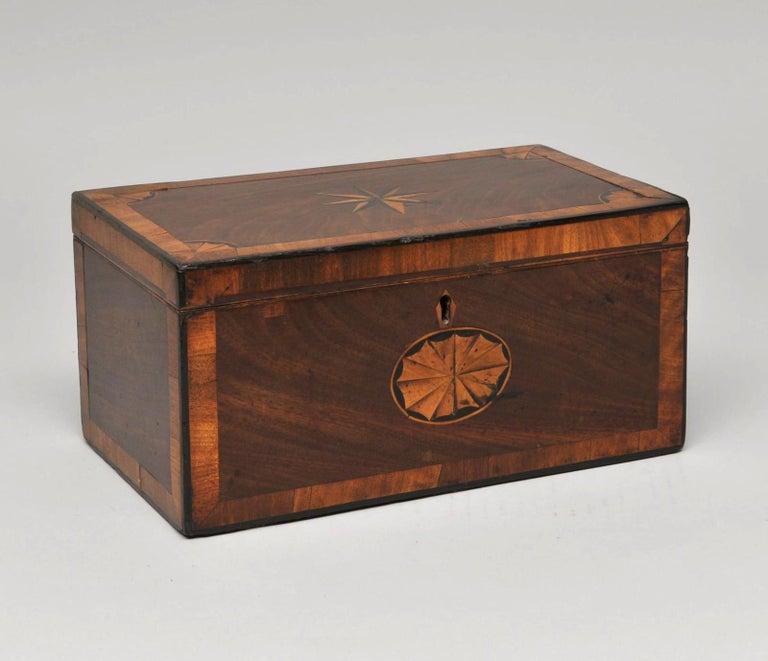 British Mahogany 3 Portioned Satinwood Inlaid Tea Caddy, circa 1850 For Sale